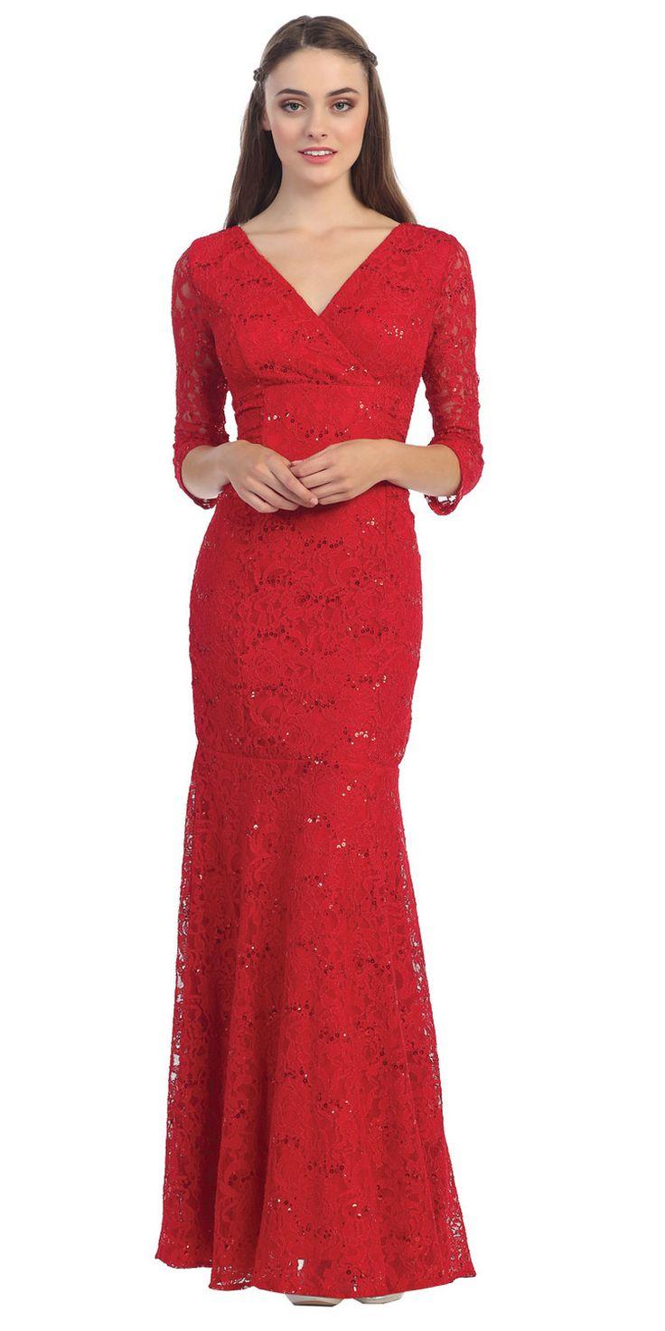 V Neckline Lace Mermaid Dress Red Long V Neck 3/4 Sleeves