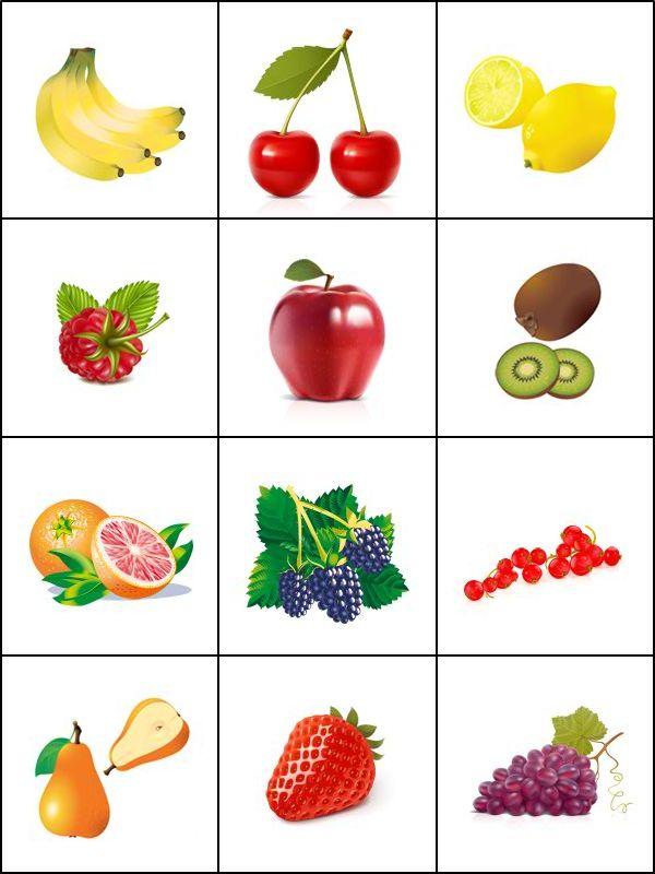 Jeu de mémoire, les fruits à imprimer