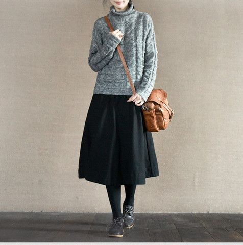 Three Colours Cotton Skirt Causel Women Clothes