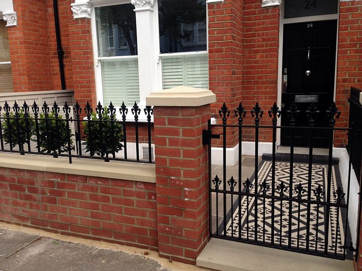 red brick front garden wall yellow stone caps sandstone paving victorian mosaic tile path pimlico battersea west london