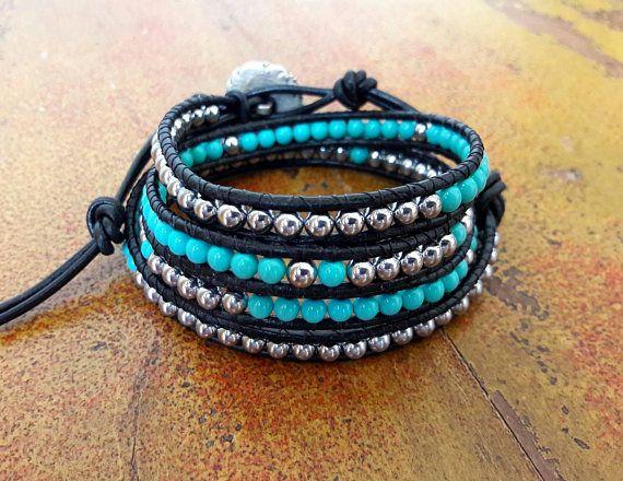 Bracciale cuoio donna ematite // Bracciale nero e turchese // Bracciale wrap stile Chan Luu // Idea regalo per lei