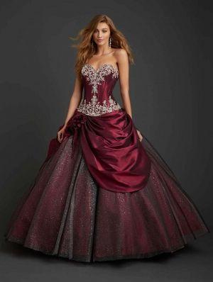 Taffeta Sweetheart Applique Ball Gown Gothic Wedding Dress