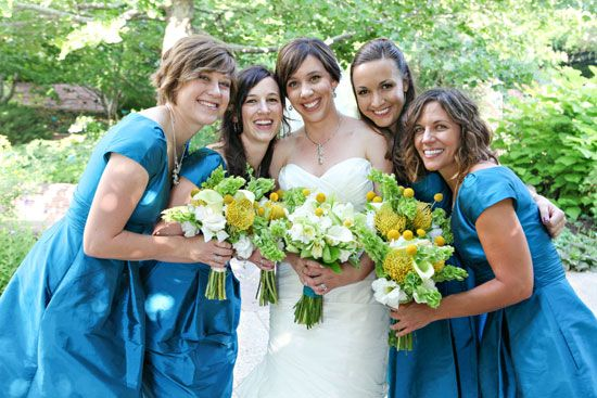 red butte garden bridesmaids with sleeves : bridesmaids in blue : www.jacquelynnphoto.com