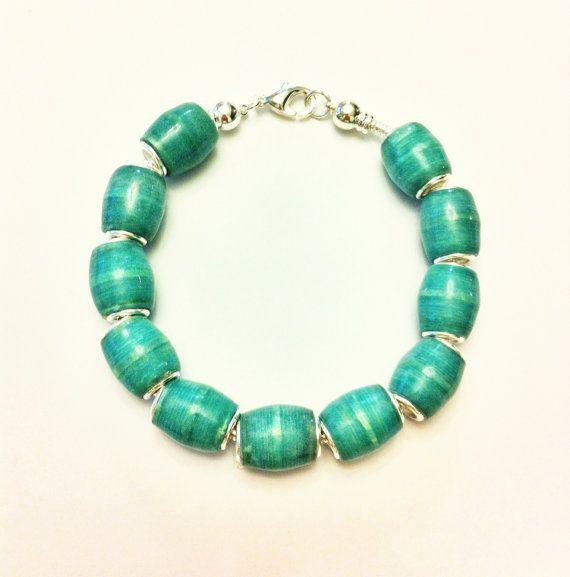Turquoise handmade paper bead bracelet by ...