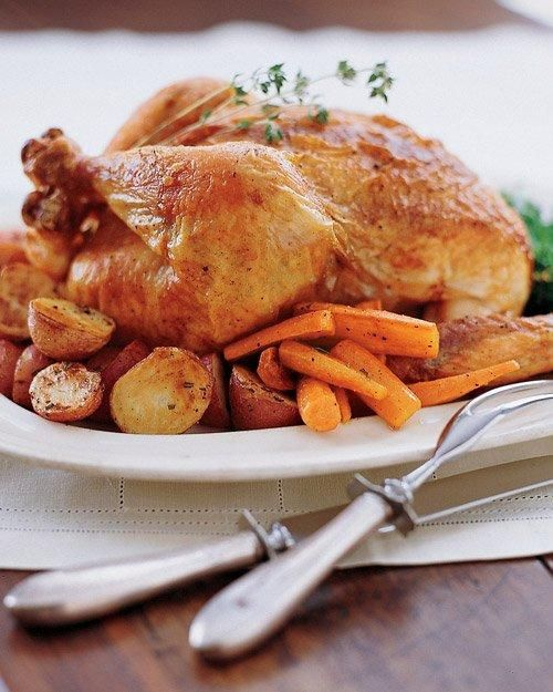 Perfect Roast Chicken Recipe: Martha Stewart -- A perfect alternative for those who don't like turkey, or for those who can't quite master a perfect roasted turkey just yet. I didn't have lemon but it was amazing! And the gravy was so good.