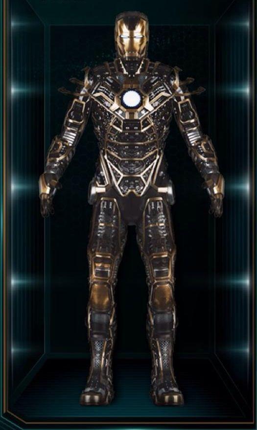 Es una versión de colores negro y oro, mucho más ligera que la armadura Iron Man, con un enfoque...