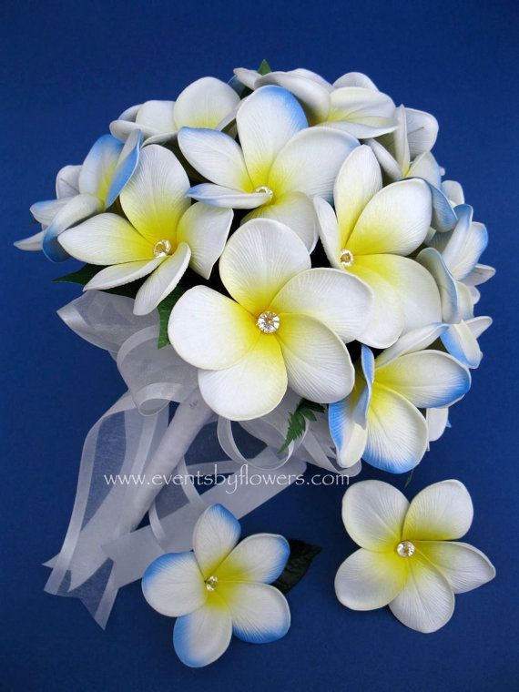 Real Touch White Blue Frangipani Plumeria by eventsbyflowers, $134.99