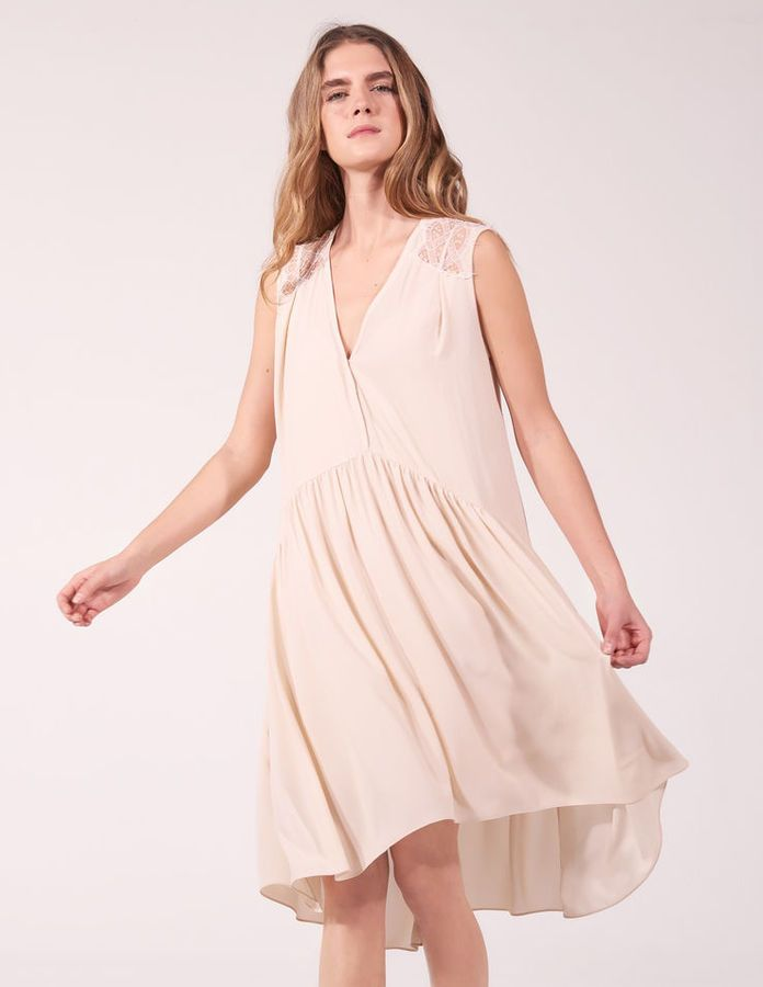 Floaty dress with lace inset