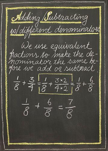 Waldorf ~ 4th grade ~ Math ~ Fractions ~ chalkboard