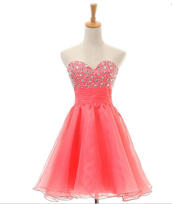 Homecoming Dress,Prom Dresses,Tulle Homecoming Gowns,Party Dress,Short Prom Gown,Tulle Cocktail Dress,Beading Homecoming Dresses 2016 For Teens
