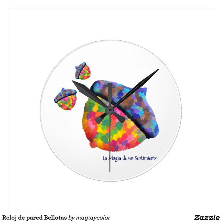Reloj de pared Bellotas - Wall clock Acorn - #Shop #Gift #Tienda #Regalos #Diseño #Design #LaMagiaDeUnSentimiento #MagiaYColor #ElBosqueDeXana #MaderaYManchas #colors #card #acorn #bellota #colores #clock #watch #wall #reloj #pared