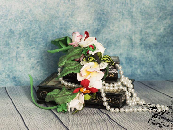 Купить Ободок для волос тропические экзотические цветы бабочки фотосессия - ободок для волос, ободок с цветами