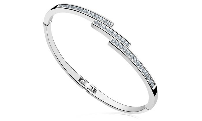 Slim Staggered Bangle with Swarovski Crystals: Slim Staggered Bangle with Swarovski Crystals