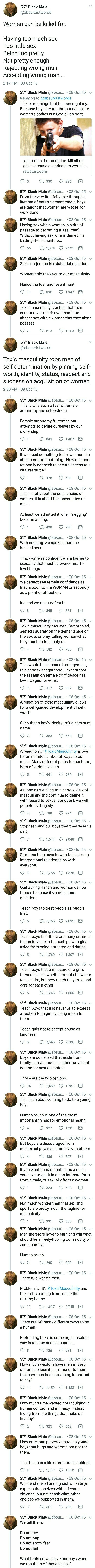 Toxic masculinity / @Chelsochist PRAISE HIM. Also, teach boys that if they want to date someone It can be anyone, not just girls.
