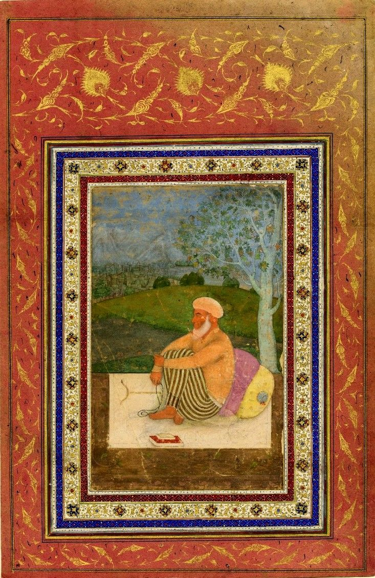 Dervish in prayer under a tree with a rosary  and books. The setting, the simple accessories & the contemplative atmosphere are common to dervishes' depictions of the time, in which a modest lifestyle and humble behavior were emphasized.       Mughal India. r.  Shah Jahan ca.  1627-1658.