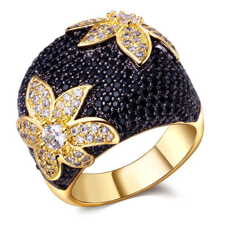 Mode-sieraden zwart-wit Ringen vergulde met cubic zirkoon Ring vinger hoge kwaliteit ringen voor vrouwen gratis zending