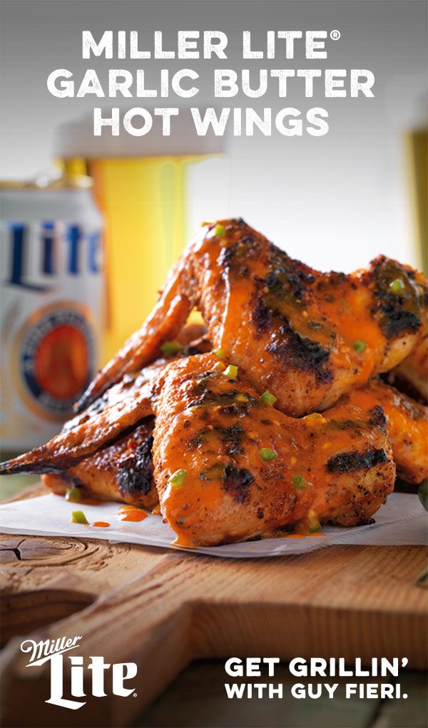Game-day greatness starts on the grill. Guy's Fieri's very own Miller Lite Garlic Butter Hot Wings are a snap to prep and are destined to be a fan favorite. Fire up your grill, and watch your tailgate crowd go wild for Guy's beer-and-wings flavor explosion.