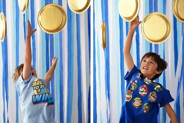 Super Mario Bros - -Paper plates painted gold and hung from the ceiling turn into coins