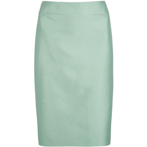 Armani Collezioni Mint cotton and silk blend skirt found on Polyvore featuring skirts, green skirt, armani collezioni, mint skirt and mint green skirts