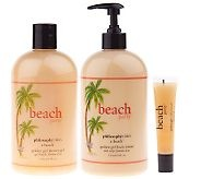 A202315 - philosophy beach party island colada gel,lotion& lip shinetrio