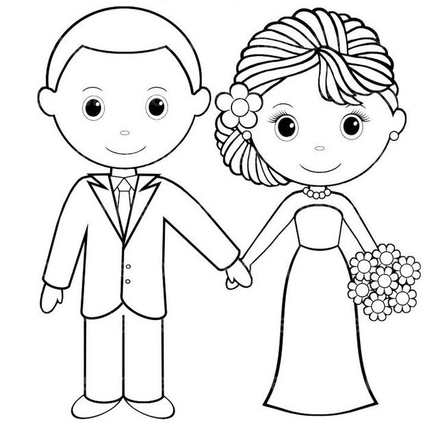 Cute Bride And Groom Coloring Pages For Wedding Card Wedding With Kids Wedding Coloring Pages Wedding Activities