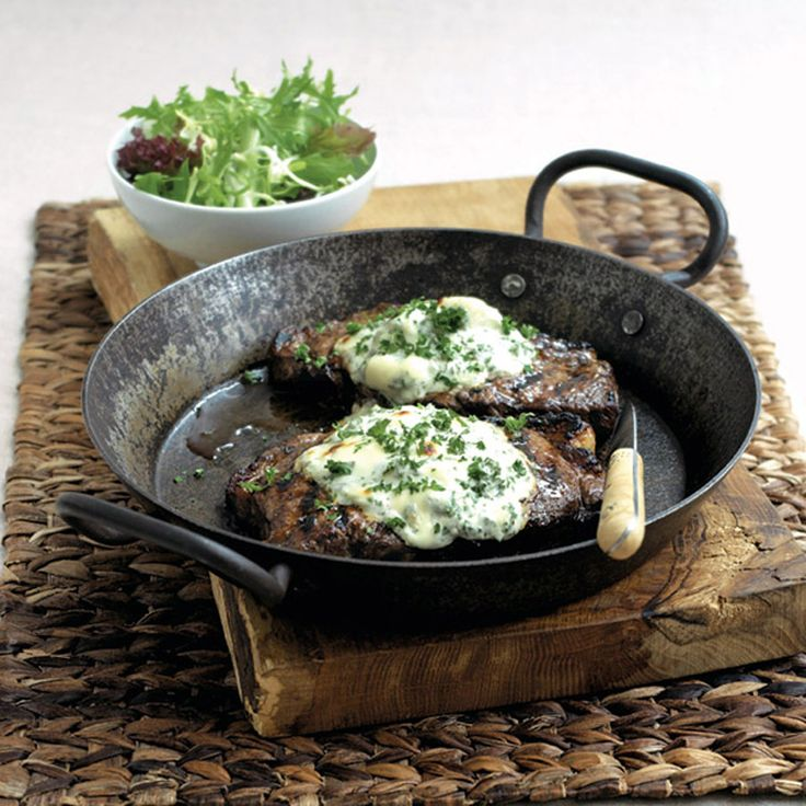 A steak recipe, served with a creamy blue cheese sauce, that is a quick and easy take on an old favourite.