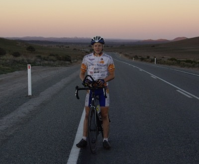 Outside Oodla Wirra on the cross Australia bike ride.