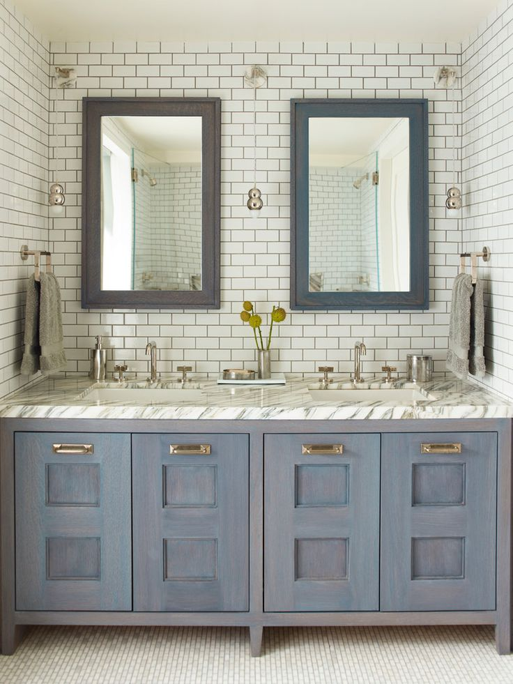 Bathroom Vanity Bedroom Contemporary Features Mini Subway Tiled Nook Filled With Blue Wash Beveled Mirrors Over Double Topped