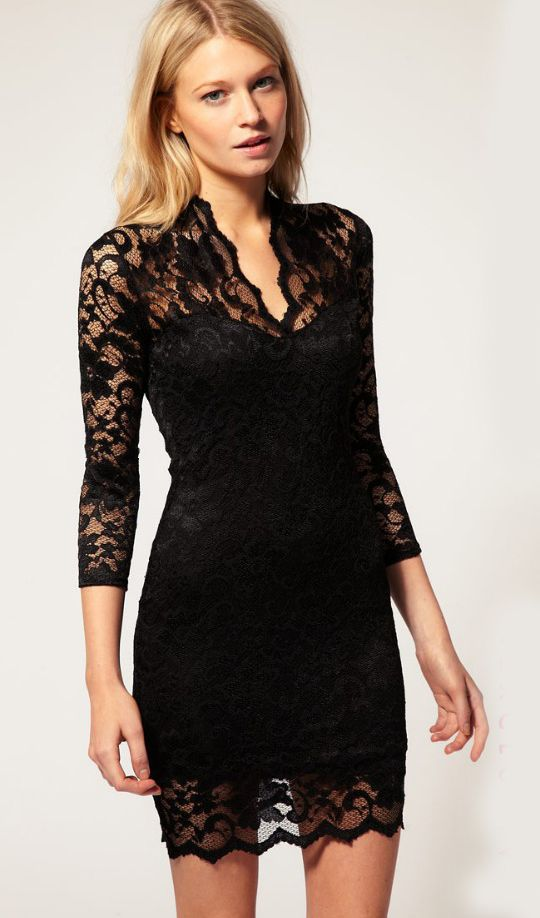 $12.49Woman Fashion V Neck Three Quarter Waist Black Lace Dress
