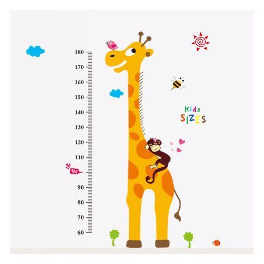 Hemdekor - Väggdekor Mätsticka med långa giraffen