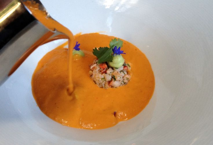 Chilled Tomato Soup with Butter-Poached Lobster @ Harvest Restaurant in Cambridge
