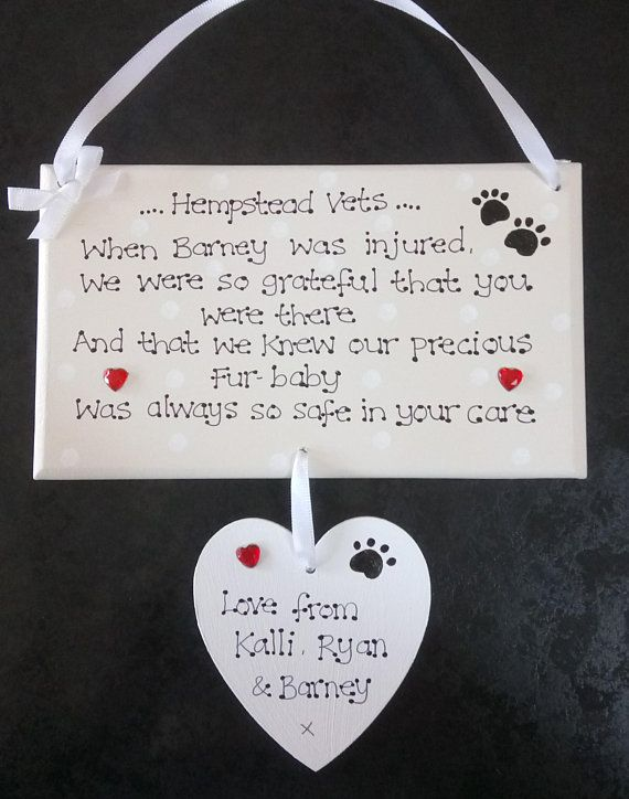 Personalised Vets Veterinary Surgery Thank You Gift Plaque Veterinary Surgeon Veterinary Nurse Pet Carer Gifts For Pet Lovers Veterinary Surgery Sick Pets