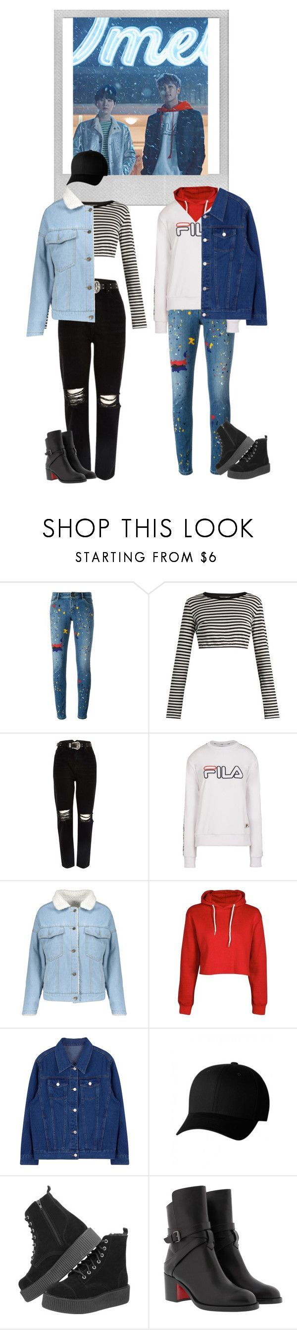 """Agust D + Joonie + Denim Jackets"" by xcaplooompx on Polyvore featuring Polaroid, Alice + Olivia, Dolce&Gabbana, River Island, Fila, Boohoo, Flexfit and Christian Louboutin"