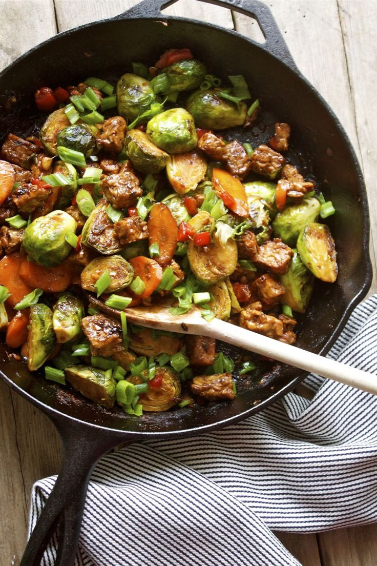 15 Minute Brussels Sprout & Tempeh Stir-Fry