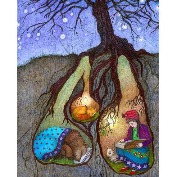 16 x 20 impression jet d'encre illustré, Bedtime Stories, fille avec enfant, ours, renard