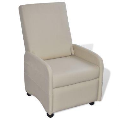 Sillón reclinable de cuero artificial, color crema[1/4]