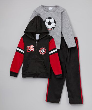 Look what I found on #zulily! Black & Gray Zip-Up Hoodie Set - Infant, Toddler & Boys by Teddy Boom #zulilyfinds