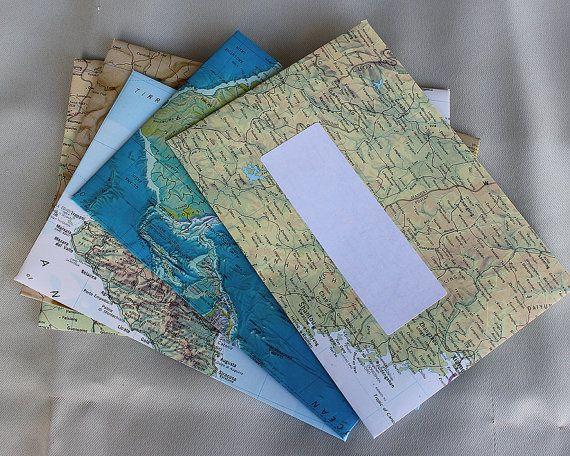 Fait à la main C6 enveloppes 115 mm x 160 mm. 4 1/2 x 6 1/4 pouces. D'autres tailles disponibles DL 5 x 7 recyclé australien et pages atlas mondial.