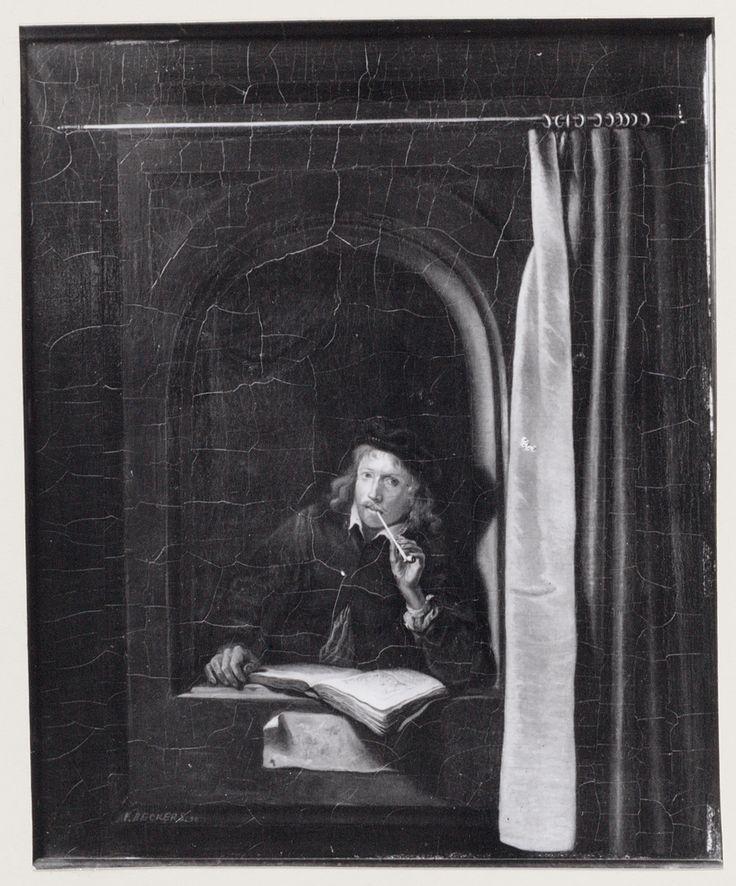 V. Beckers: man met pijp. 1880. Amsterdams Museum, Amsterdam. Naar Gerard Dou: Schilder met pijp en boek in een venster. ca. 1645-1650