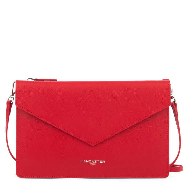 Red clutch bag, Element AIR DUO, Lancaster Paris. #red #rouge #clutch #bag #sac #pochette #envelope #saffiano #leather #element #accessory #fashion #style #frenchstyle #chic #glamour #lancaster #lancasterparis