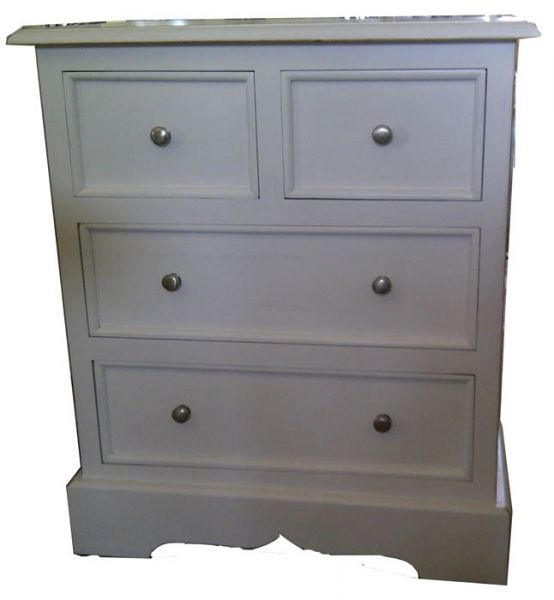 Bedside Table 4 Drawer 70 x 60 x 40 White Wash F1955 R
