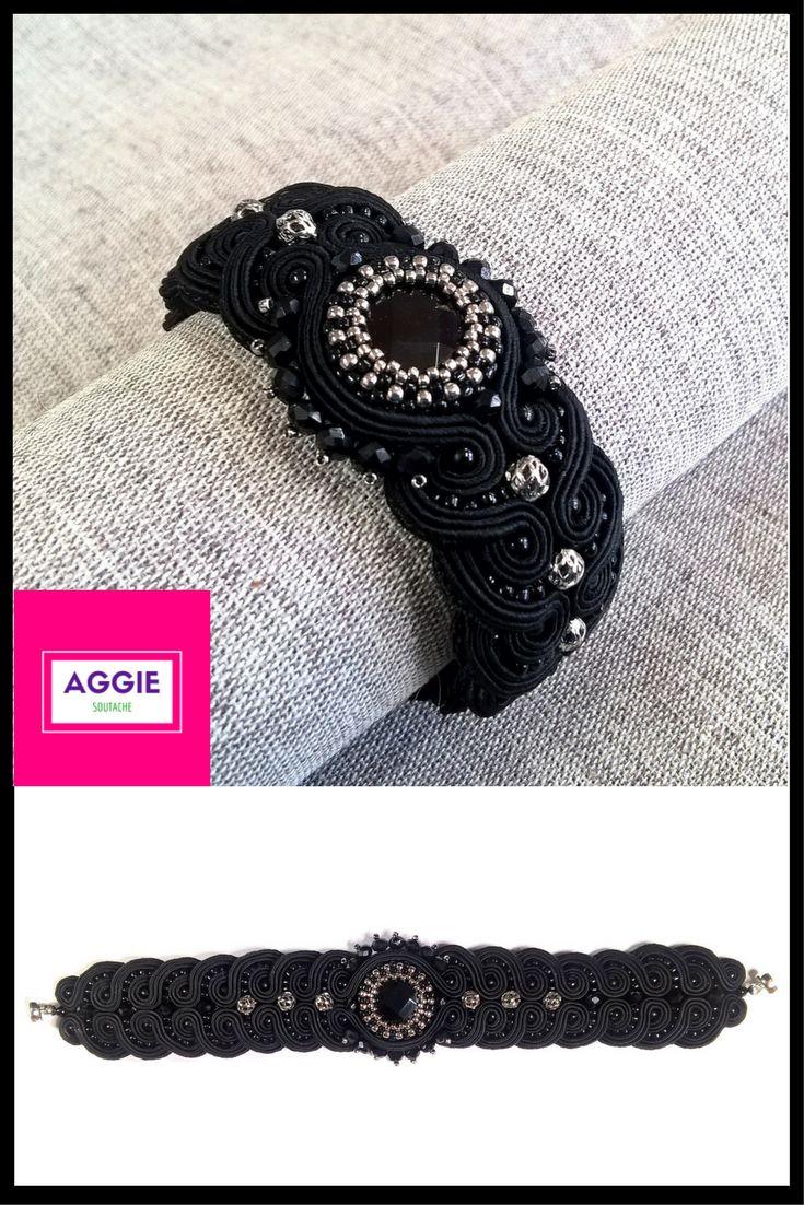 Elegancka, czarna bransoletka sutaszowa ;   Elegant black soutache bracelet