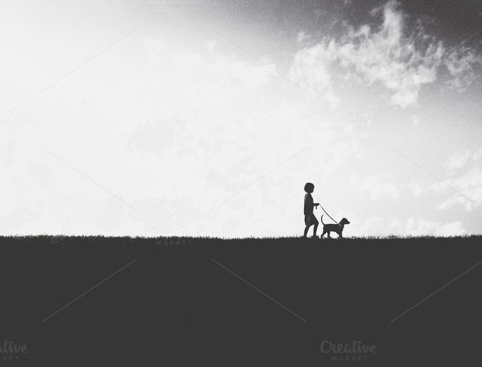 A Boy Walking His Dog by Actions Schmactions on @creativemarket