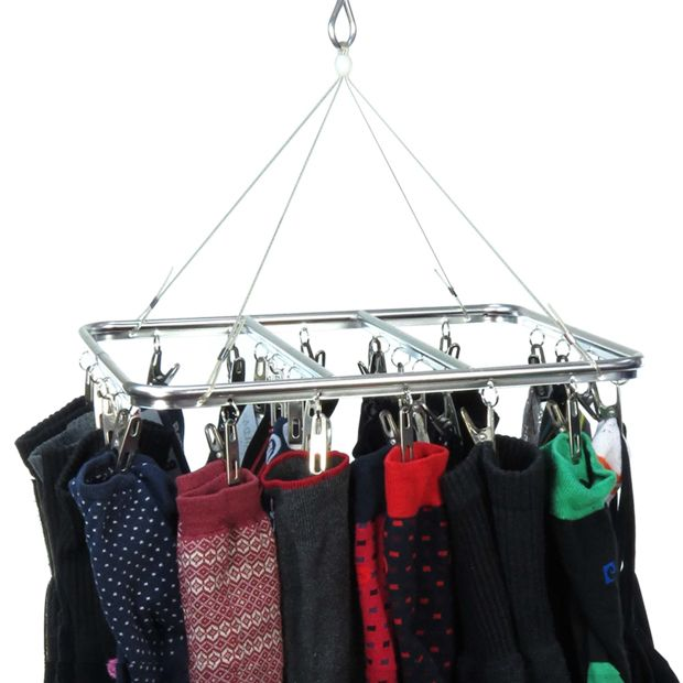 This Hanging Dryer/airer Comes Complete With 26 Pegs, Making It Fantastic For Hanging All Your Socks And Underwear. Sturdy Lightweight Aluminium Frame.