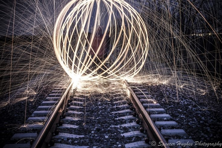 Long exposure, Steel wool lit on fire spun on a leash while