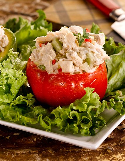 Try this simple, under 300 calorie recipe using minimal ingredients: chicken, mayonnaise, sweet pickle relish and chopped celery.