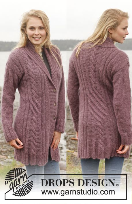 "Knitted DROPS jacket with cables and shawl collar in ""Alpaca"" and ""Kid-Silk"". Size: S - XXXL. ~ DROPS Design"