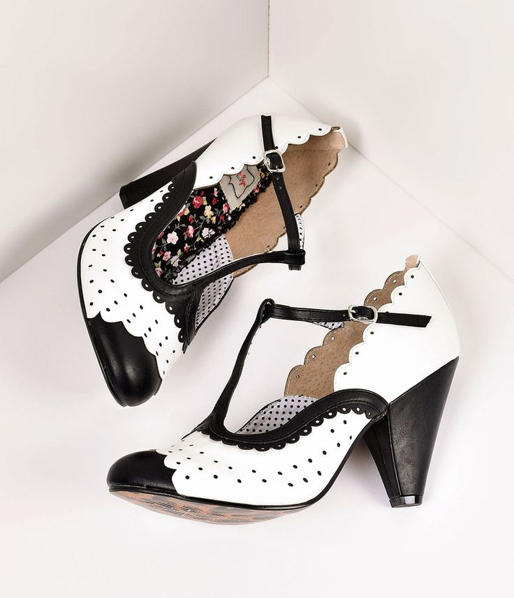 White  Black Leatherette Spectator Paige T-Strap Heels Shoes $83.00 AT vintagedancer.com