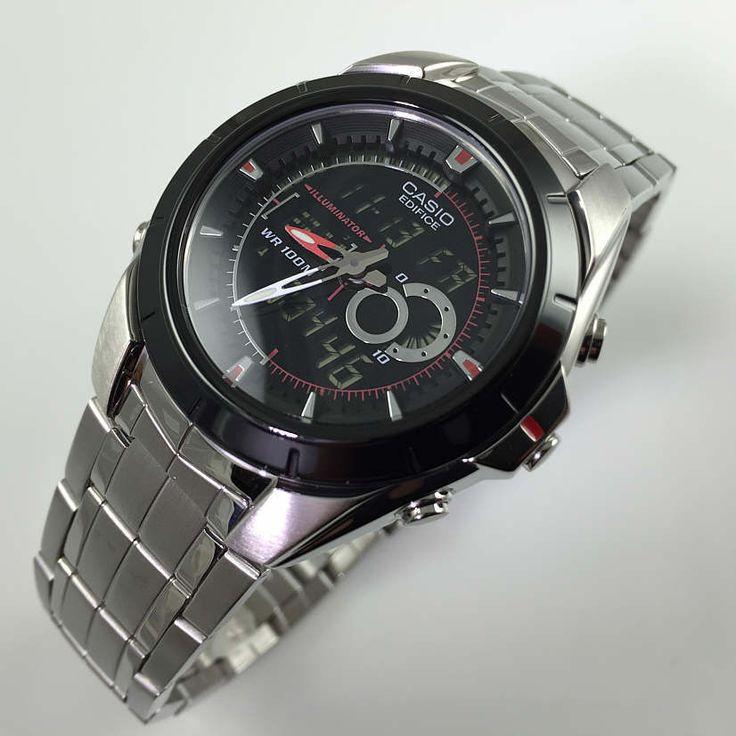 Mens Casio Digital Analog Thermometer Watch EFA119BK-1AV