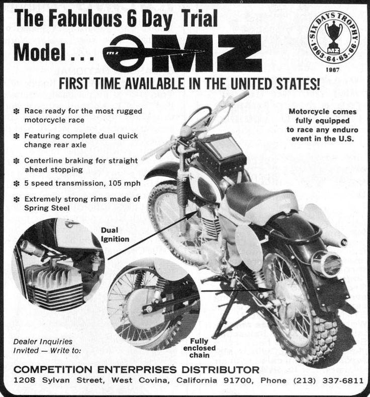 East German MZ, USA 1967. (Ich glaube eher, die Maschine läuft 105 km/h anstatt wie angegeben 105 mph).